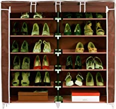 Shopper52 Standard Double Dustproof & Dampproof Shoe Rack Shoe Stand Shoe Cabinet Shoe Organiser Shoe Rack Home & Office Shoe Rack Plastic Collapsible Shoe Stand (12 Shelves) - DST2712