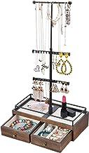 Keebofly Jewelry Organizer Metal & Wood Basic Storage Box - 3 Tier Jewelry Stand for Necklaces Bracelet Earrings Ring Walnut (Renewed)