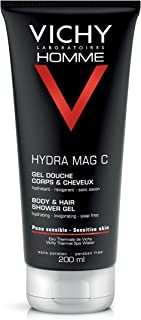 Vichy Homme Hydra Mag C Body Wash & Hair Shower Gel for Men, 6.76 Fl Oz