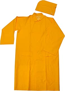 "G & F 333M 48"" Long Heavy Weight 35mm PVC Over Polyester Rain Suit with Hood, Long Raincoat Heavy Duty, Medium, Yellow"