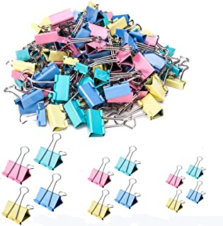 iDream365 Binder Clips - Paper Clamps Assorted 3 Sizes, 4 Colors,Paper Binder Clips, Metal Fold Back Clips for Office, Sch...