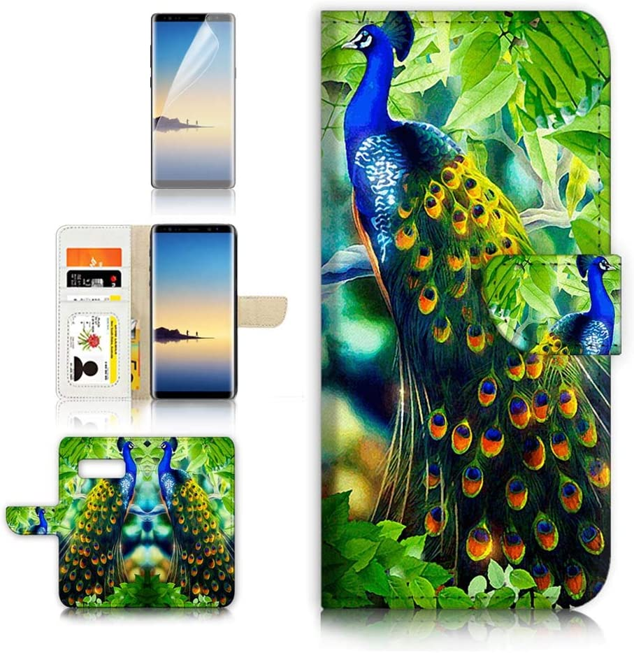 (for Samsung S10+ / Galaxy S10 Plus) Flip Wallet Case Cover & Screen Protector Bundle - A4112 Peacock