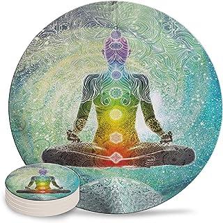 XUTAI Drink Coasters Custom Cute Cool Stone Yoga Mandala Zen Meditation Hippie Chakra Coaster Ceramic with Cork Backing 4 ...