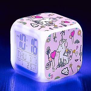 Kandice Unicorn Alarm Clocks for girs,7-in-1 Night Light Kids Alarm Clocks with LED Glowing Bedroom Wake Up Alarm Clock Gifts for Unicorn Room Decor for Girls Bedroom