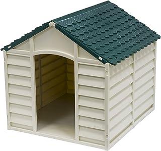 Avanti Trendstore Caseta para Perros de PVC para Exterior Color Gris Claro con tejado Verde