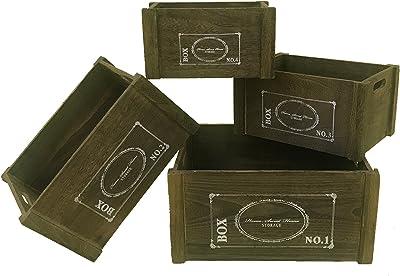 Rebecca Mobili Juego de 4 contenedores Cajas Blancas, cestas Madera Oscura, Cajas Vintage, Cocina jardín baño- Medidas: 20 x 41 x 31 cm (AxANxF) - Art. RE4476: Amazon.es: Hogar