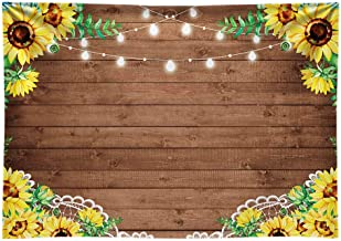 Funnytree 7x5ft Durable Fabric Sunflowers Rustic Brown Wood Backdrop No Wrinkles Retro Wooden Floor Photography Background Flower Baby Shower Birthday Party Decorations Photo Booth Props Banner