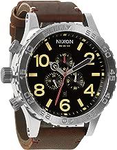 Nixon 51-30 Black Dial SS Leather Chrono Quartz Male Watch A124-019