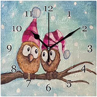 Vinter djur uggla par väggklocka tyst icke-tickande fyrkantig konstmålning klocka för hem kontor skoldekor