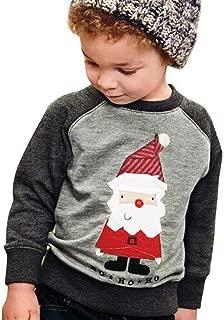 Kids Baby Boys Girls Christmas Santa Claus Print T-Shirt Long Sleeve Pullovers Tops