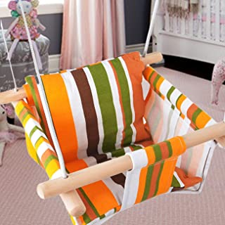 BEAMNOVA Hanging Swing Seat with Cushion Indoor Outdoor Hammock Chair Canvas Seat Orange