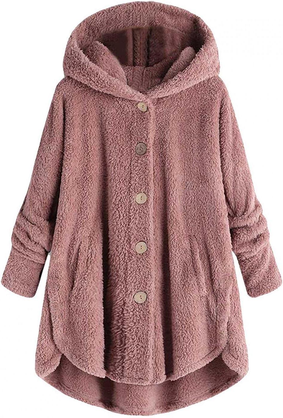 Fleece Jacket Women Pullover Sherpa Fleece Jacket Hoodies Button Faux Fuzzy Long Sleeve Fluffy Fleece Sweatshirt Coat