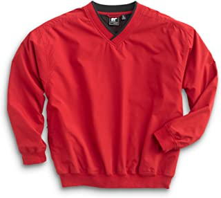 Men's Fully Lined V-Neck Golf and Wind Shirt - Red/Black, Large Tall