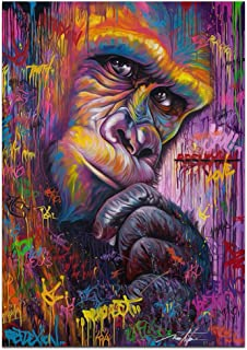 Unframed Print Canvas Painted Graffiti red Gorilla Oil Paintings Canvas Wall Art Colorful Chimpanzee Monkey Thinking Modern Artwork Painting for Living Room Bedroom Office Home Decoration