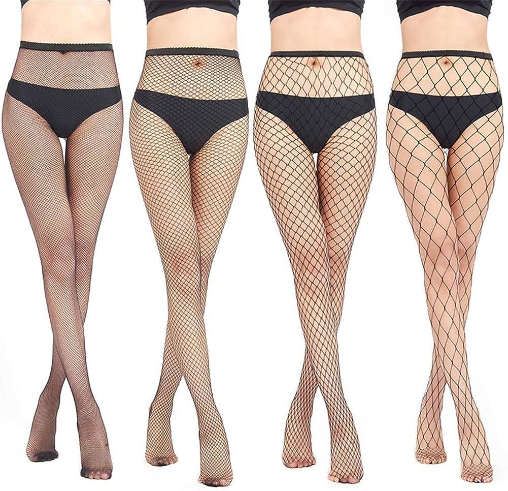 HNGPB Women Fishnet Stockings Sexy High Waist Tights Fish Net Sock Black