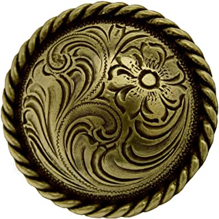 "ShopForAllYou Conchos Western Craft Horse TACK Antique Brass Engraved Rope Edge Conchos Screw Back (1-1/2"")"
