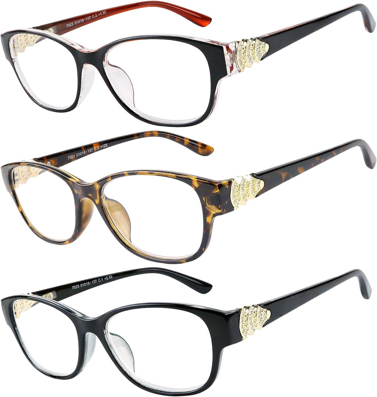 Success Eywear Women's 3 Pack Fashion Crystal Design Reading Glasses
