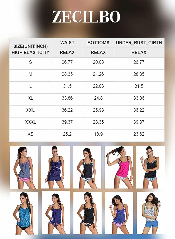 Zecilbo Women's Swim Suits Sporty Double Up Tankini Lined Up Swimwear Bathsuit