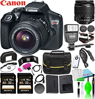 Canon EOS Rebel T6 DSLR Camera w/EF-S 18-55mm f/3.5-5.6 is II Lens Kit Deluxe Bundle with (2) Sony 32GB SDXC Card + Canon Battery + Large Camera Bag + Universal Flash + Deluxe Cleaning Kit and More