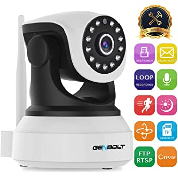 WiFi IP Security Camera indoor - GENBOLT 1080P Wireless Baby Monitor Nanny Pet Dog Cam for Home Surveillance,2-Way Audio Loop Recording,Customizable Motion Detection,Instant Image Activity Alert(2020)