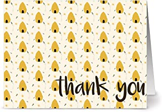 Thank You Cards – 24 Pack – Honey Hives – Unique Design – KRAFT ENVELOPES INCLUDED – Appreciation Greeting Card – Glossy Cover Blank Inside – By Note Card Café