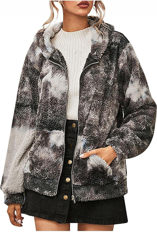 Women Fuzzy Fleece Coat, Womens Fuzzy Jacket Sherpa Coat Open Front Hooded Long Sleeve Cardigan Outwear with Pockets