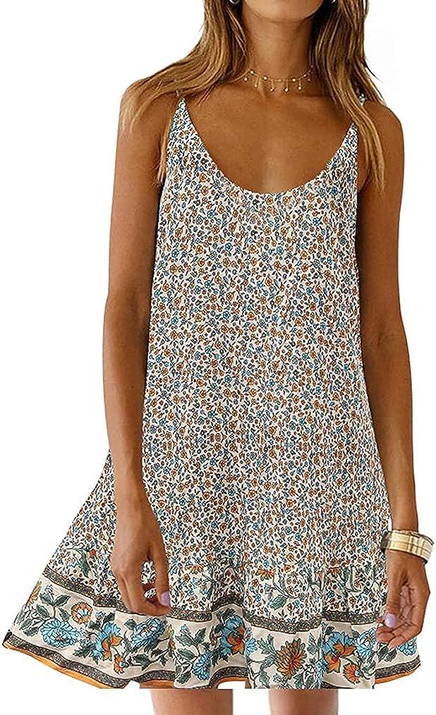 Womens Boho Floral Printed Dress Summer Sleeveless Adjustable Strap Beach Mini Dress with Pockets