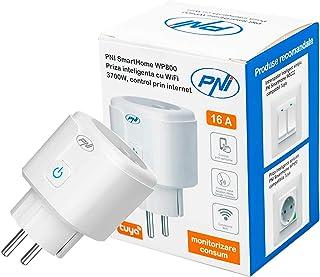 Smart socket PNI SmartHome WP800 WiFi internet controle, Tuya Smart App, compatibel met Amazon Alexa en Google Home, meet ...