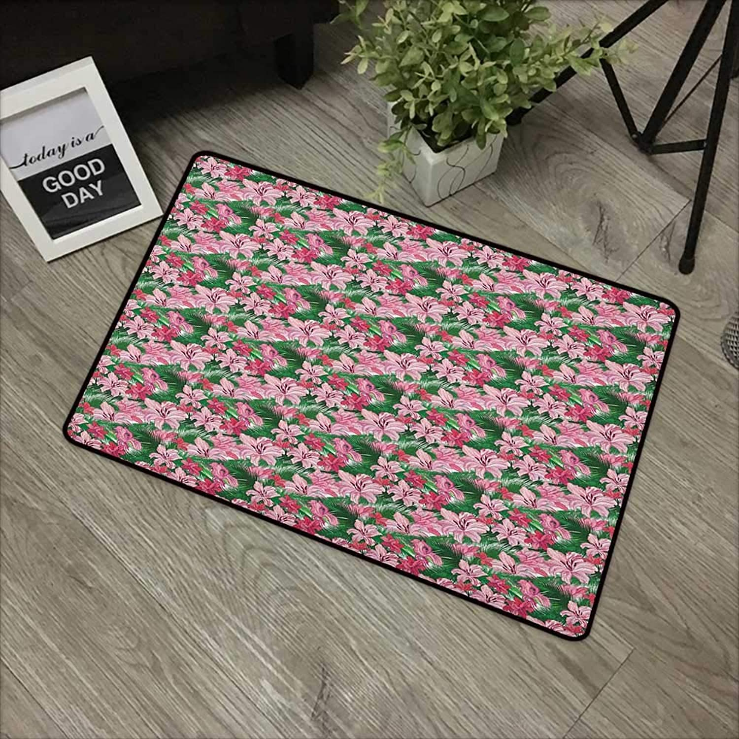 Living room door mat W35 x L59 INCH Jungle,Lush Growth of the Exotic Hawaiian Island Blossoms in Pink Shades Spring in Paradise, Multicolor Easy to clean, no deformation, no fading Non-slip Door Mat C