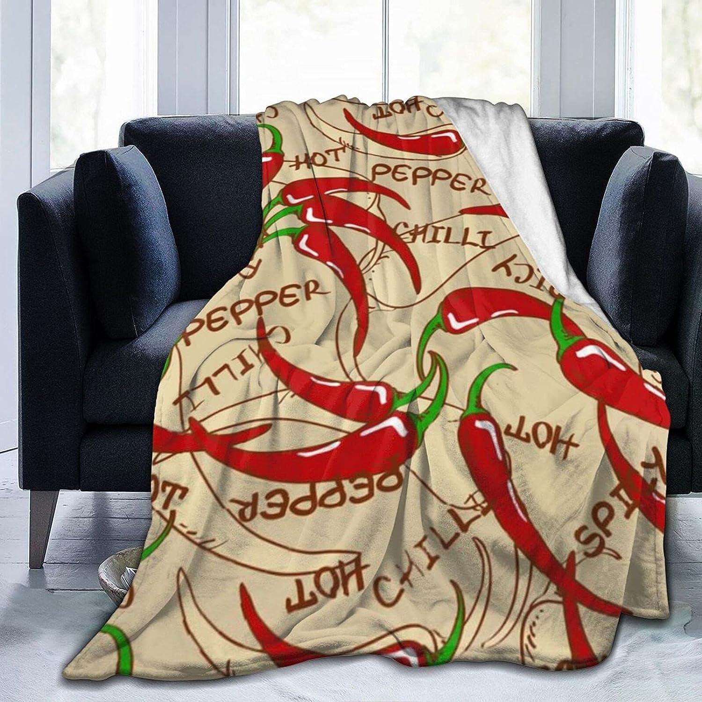 Chili-Peppers Fleece Flannel Blanket Over item handling ☆ Lightweight Warm Blan Throw New product type