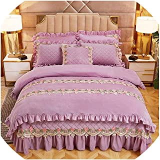 Pink Blue Floral Girls Duvet Cover Quilted Bedspread Pillowcase Luxury Ultra Soft Bedding Set Queen King Size Perfect for Winter,Color 7,King Size 6Piece