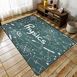 Rectangular Rug,Doodle,Physics Science Education Theme Mathematical Formula Equation on School Board,Anti-Slip Doormat Footpad Machine Washable,6'6