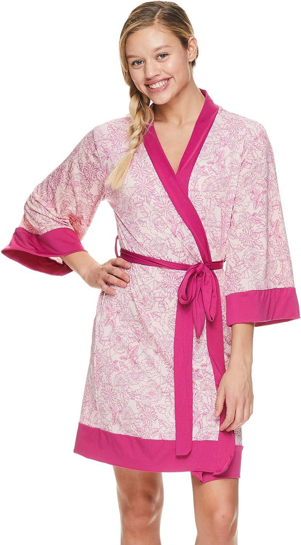 Tahari Womens Printed Kimono Belted Robe Bathrobe