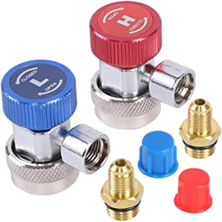 JIFETOR AC R134A Quick Coupler Adapter Kit, HVAC Adjustable High Low Connector Conversion with 1/4 inch SAE Male Flare, Fit for Standard Auto Air Conditioner Manifold Gauge Hose Fittings