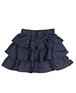 RuffleButts Little Girls Ruffled Denim Skirt with Bow