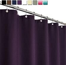 Barossa Design Waffle Weave Shower Curtain Hotel Luxury Spa, 230 GSM Heavy Duty Fabric, Water Repellent, Purple, 71x72 Inch