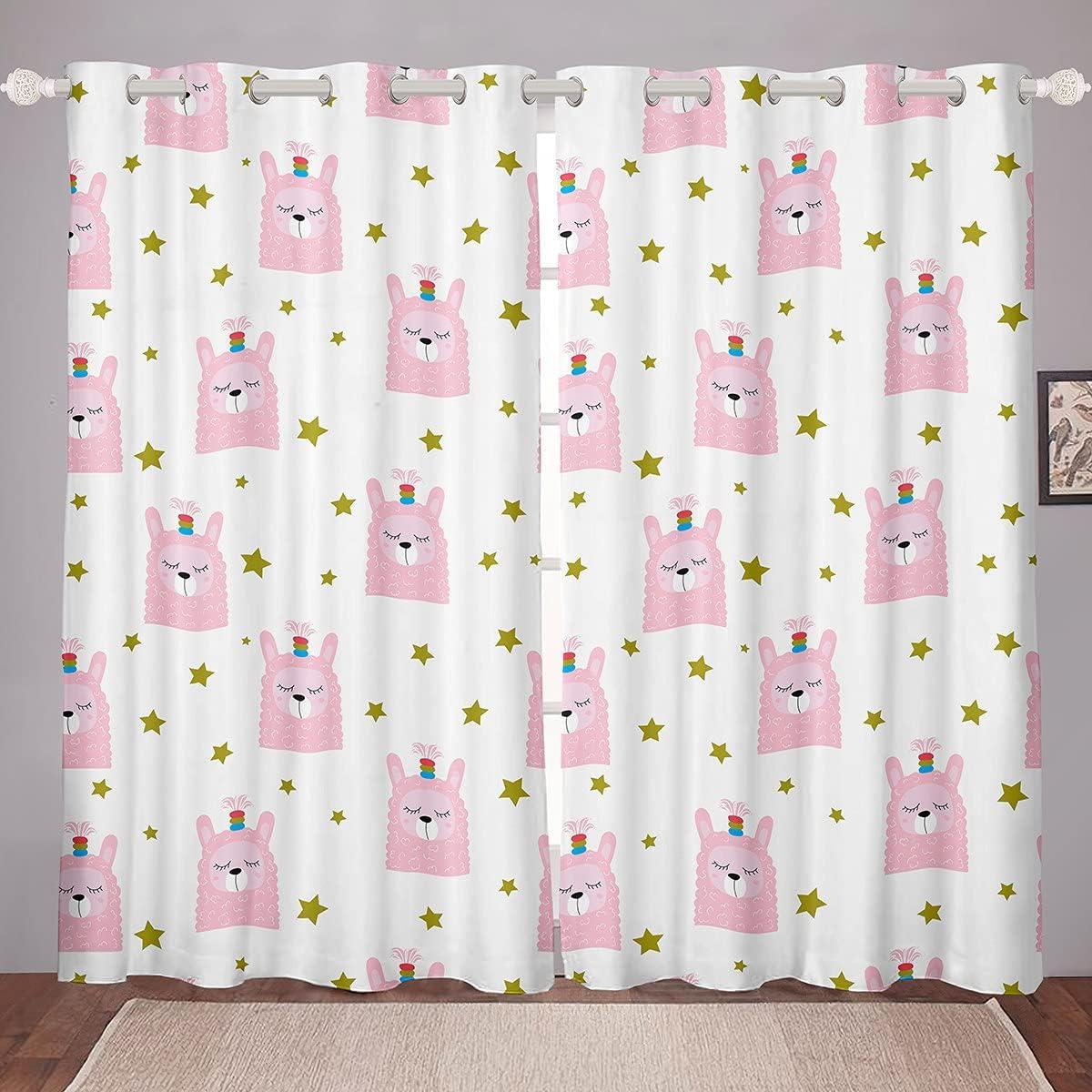 Cute Llama Window New popularity Curtains for Living Pink mart Cartoon Bedroom Room