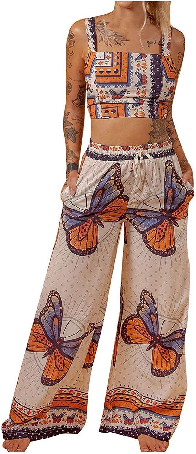Tank Tops for Women Casual,Women Casual Butterfly Printed Sleeveless Camis Tops Long Pants 2 Piece Set Shirts