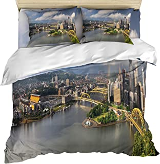 wanxinfu 4 Piece Duvet Comforter Cover Set Queen Size, Pittsburgh's City Scenery Clouds and Rainbows Home Decorative Zippered Quilt Cover Teen Room Decor Bedding Set Include Flat Sheet Pillow Case