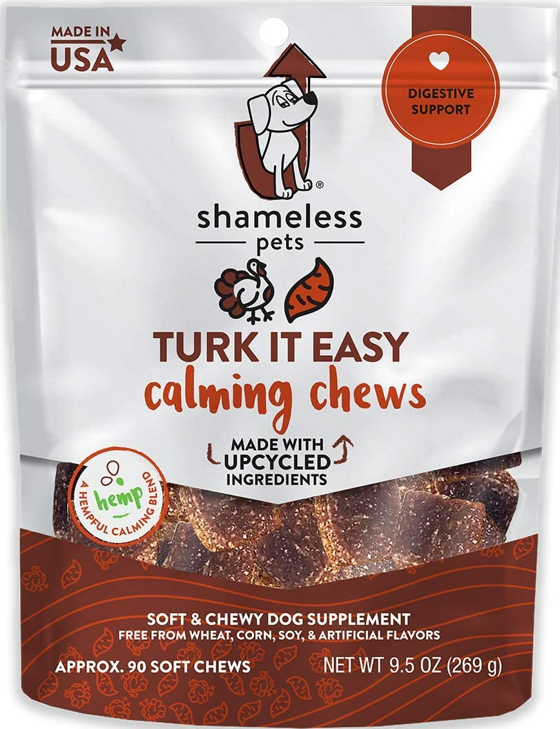 SHAMELESS PETS Calming Chew Treats for Dogs, 90 Soft Chews | Hemp-Blended, Natural Anxiety Aid Supplements | Reduces Anxiety, Hyperactivity, & Aggression | Made w/Upcycled Ingredients in USA