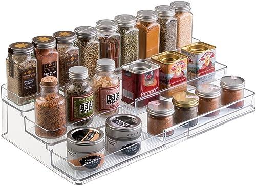 mDesign étagère à épices à 3 niveaux – range épices extensible en PVC pour placard de cuisine ou plan de travail – ra...