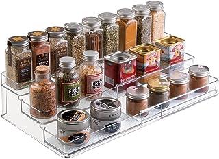 mDesign étagère à épices à 3 niveaux – range épices extensible en PVC pour placard de cuisine ou plan de travail – rangeme...