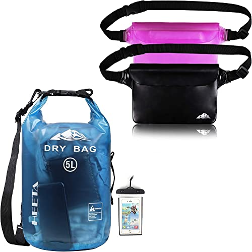 high quality HEETA online sale Waterproof outlet online sale Dry Bag for Women Men Transparent Blue 5L Bundle with 2-Pack Waterproof Pouch with Waist Strap online