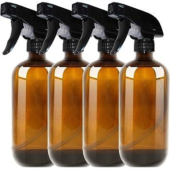 THETIS Botellas de Spray vacías de ámbar Boston de 500ml (4 Paquete de) - Contenedor rellenable con pulverizadores de gatillo, Tapas y Etiquetas, Frasco de Vidrio para aceites Esenciales: Amazon.es: Hogar