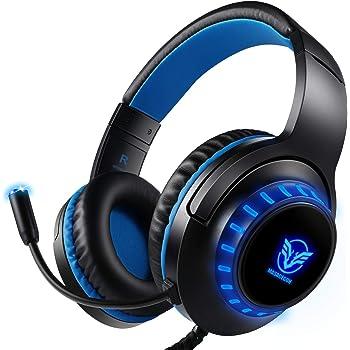 Pacrate Audífonos Gamer con Micrófono y Luz LED Cancelación de Ruido Headset Gaming para PC Mac Xbox One PS4 Bajo Sonido Envolvente Luz LED Auriculares para Juegos (Negro Azul)