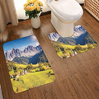 Bathroom Rugs 2 Piece Bath Mat Contour Curved Set,Village View with Mountain Peaks and A Meadow Northern European Alps Artwork,Soft Absorbent Non-Slip Shower Rug & U-Shaped Toilet Mat