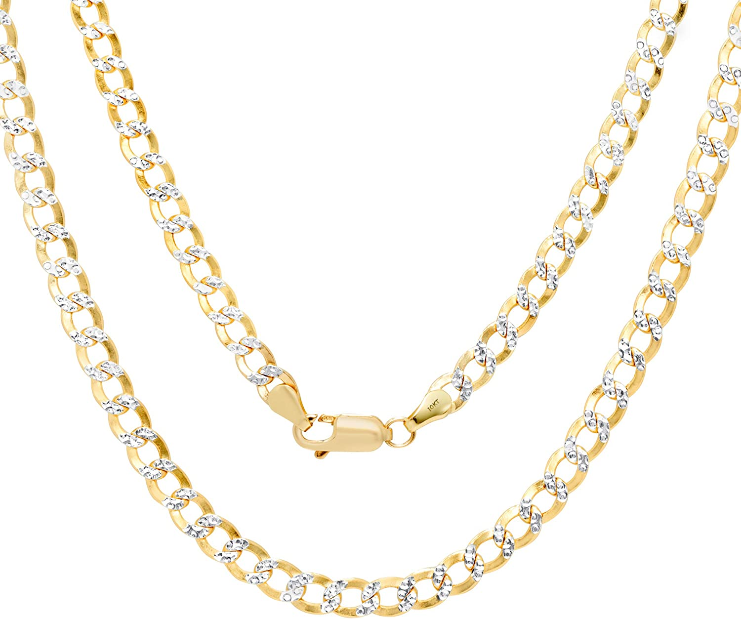 Nuragold 10k Yellow Gold 4.5mm Cuban Chain Curb Link Diamond Cut Pave Two Tone Pendant Necklace, Mens Womens Lobster Lock 16