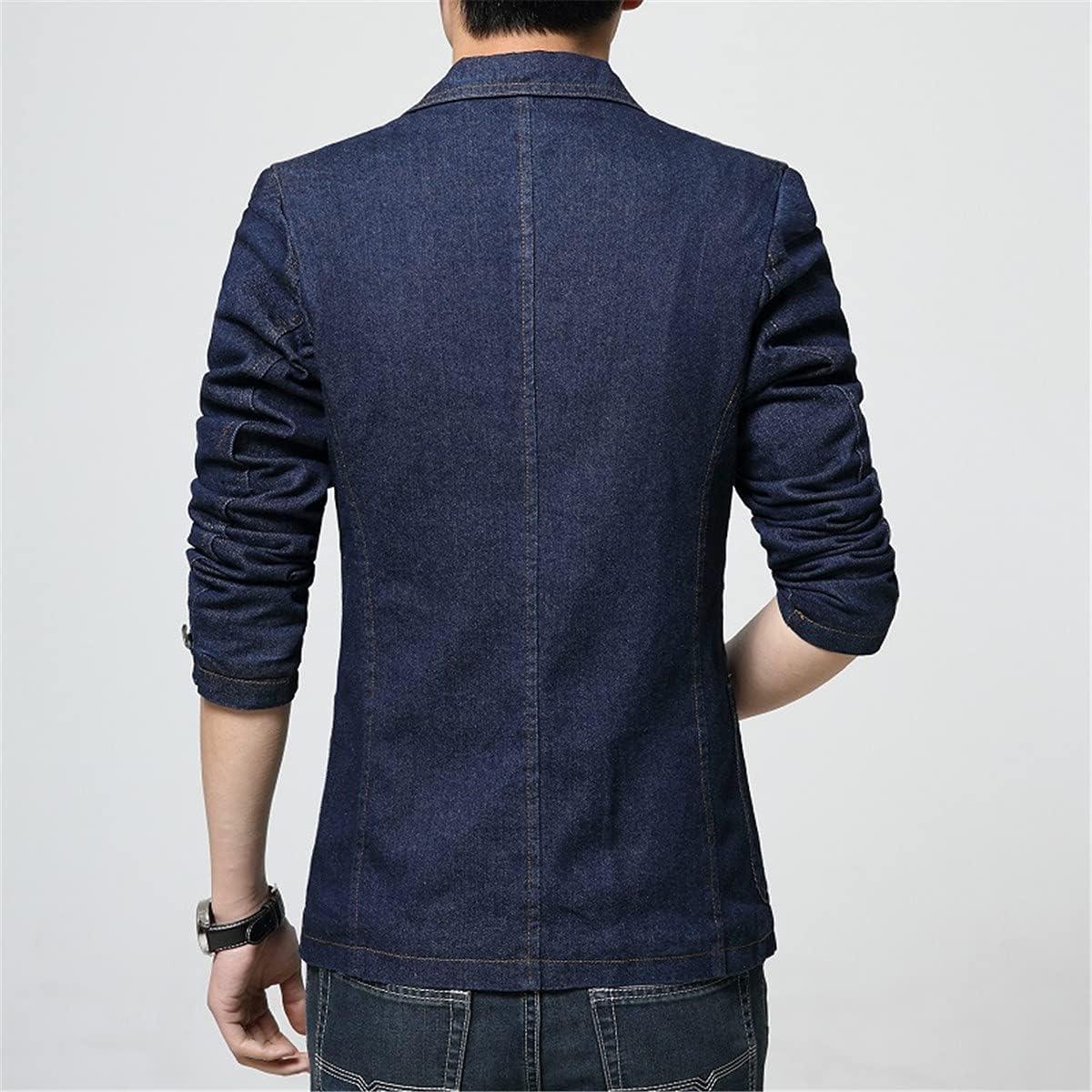 Men's 1 Buttons Denim Jackets Casual Business Suits Blazer
