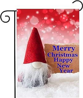 """شاين سنو وينتر سنو سنو سنو غنومز تتمنى لك سعيد عيد ميلاد سعيد حديقة عام 12 """"x 18"""" بوليستر مزدوج الجانب ترحيب العلم اللافتا..."""