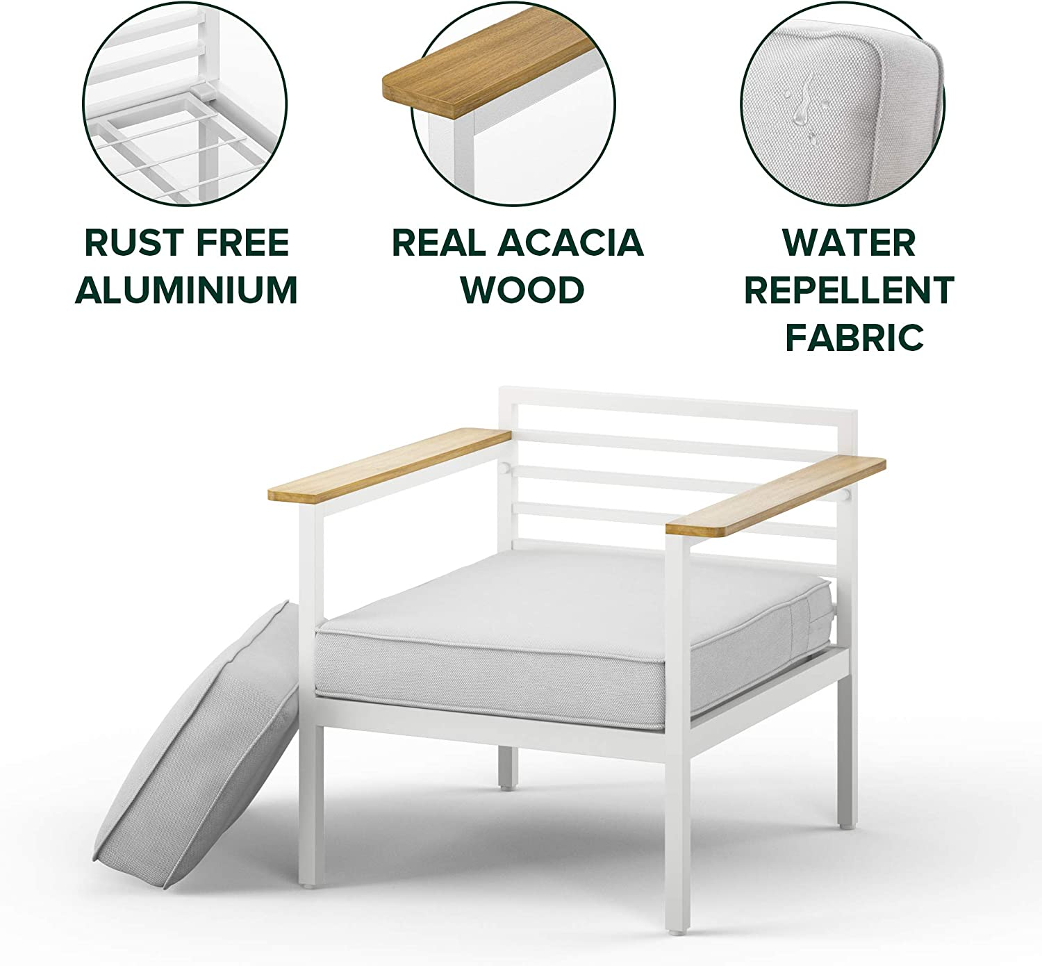 ZINUS Pablo Aluminum and Acacia Wood Outdoor Armchair with Cushions and Waterproof Cover / Weather Resistant and Rust Proof / Easy Assembly: Garden & Outdoor